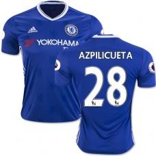 Adult Men's 16/17 Chelsea #28 Cesar Azpilicueta Authentic Blue Home Jersey - 2016/17 Premier League Soccer Shirt