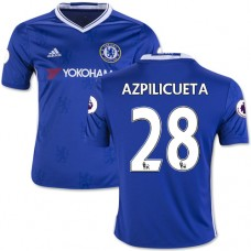 Kid's 16/17 Chelsea #28 Cesar Azpilicueta Authentic Blue Home Jersey - 2016/17 Premier League Soccer Shirt