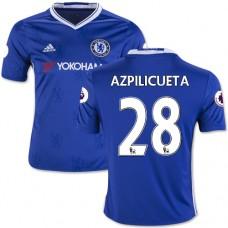 Kid's 16/17 Chelsea #28 Cesar Azpilicueta Authentic Blue Home Jersey - 2016/17 Premier League Soccer Shirt