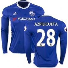 Adult Men's 16/17 Chelsea #28 Cesar Azpilicueta Blue Home Long Sleeve Replica Jersey - 2016/17 Premier League Soccer Shirt