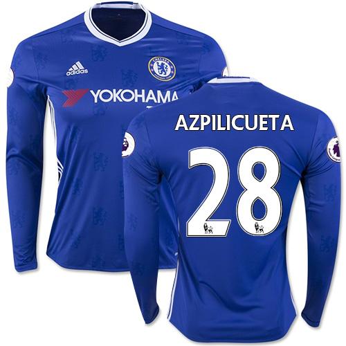 Adult Men's 16/17 Chelsea #28 Cesar Azpilicueta Blue Home Long Sleeve  Replica Jersey ...