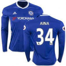 Adult Men's 16/17 Chelsea #34 Ola Aina Authentic Blue Home Long Sleeve Jersey - 2016/17 Premier League Soccer Shirt