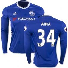 Adult Men's 16/17 Chelsea #34 Ola Aina Blue Home Long Sleeve Replica Jersey - 2016/17 Premier League Soccer Shirt