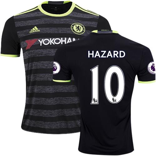 Adult Men's 16/17 Chelsea #10 Eden Hazard Black Away Replica Jersey - 2016/17 Premier League Soccer Shirt