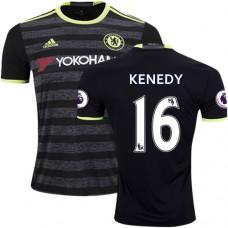 Adult Men's 16/17 Chelsea #16 Kenedy Authentic Black Away Jersey - 2016/17 Premier League Soccer Shirt