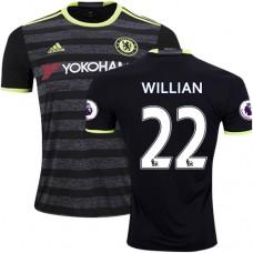 Adult Men's 16/17 Chelsea #22 Willian Authentic Black Away Jersey - 2016/17 Premier League Soccer Shirt