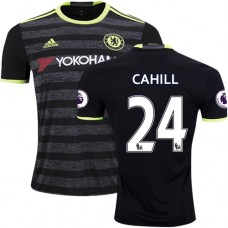 Adult Men's 16/17 Chelsea #24 Gary Cahill Authentic Black Away Jersey - 2016/17 Premier League Soccer Shirt