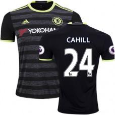 Adult Men's 16/17 Chelsea #24 Gary Cahill Black Away Replica Jersey - 2016/17 Premier League Soccer Shirt