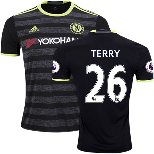 newest 321f4 1652e Adult Men's 16/17 Chelsea #26 John Terry Black Away Replica ...