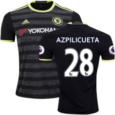 Adult Men's 16/17 Chelsea #28 Cesar Azpilicueta Authentic Black Away Jersey - 2016/17 Premier League Soccer Shirt