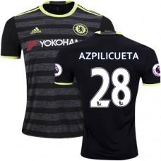Adult Men's 16/17 Chelsea #28 Cesar Azpilicueta Authentic Black Away Jersey - 2016/17 Premier League Soccer Shirt