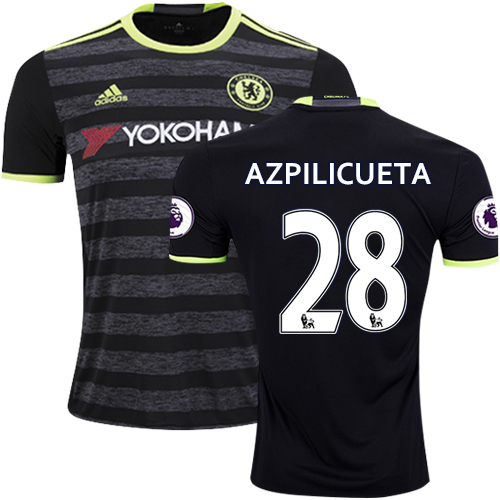Adult Men's 16/17 Chelsea #28 Cesar Azpilicueta Black Away Replica Jersey - 2016/17 Premier League Soccer Shirt