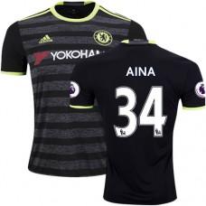 Adult Men's 16/17 Chelsea #34 Ola Aina Authentic Black Away Jersey - 2016/17 Premier League Soccer Shirt