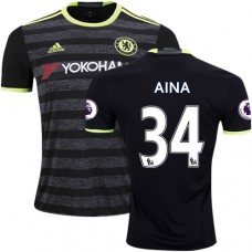 Adult Men's 16/17 Chelsea #34 Ola Aina Black Away Replica Jersey - 2016/17 Premier League Soccer Shirt