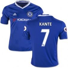 Kid's 16/17 Chelsea #7 N'Golo Kante Authentic Blue Home Jersey - 2016/17 Premier League Soccer Shirt
