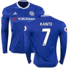Adult Men's 16/17 Chelsea #7 N'Golo Kante Blue Home Long Sleeve Replica Jersey - 2016/17 Premier League Soccer Shirt