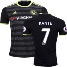 Adult Men's 16/17 Chelsea #7 N'Golo Kante Authentic Black Away Jersey - 2016/17 Premier League Soccer Shirt