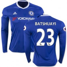 Adult Men's 16/17 Chelsea #23 Michy Batshuayi Blue Home Long Sleeve Replica Jersey - 2016/17 Premier League Soccer Shirt
