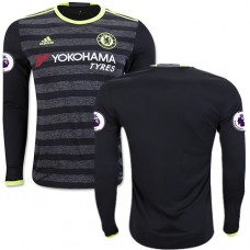 Adult Men's 16/17 Chelsea Blank Authentic Black Away Long Sleeve Jersey - 2016/17 Premier League Soccer Shirt