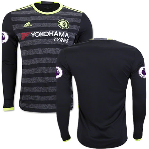 Adult Men's 16/17 Chelsea Blank Black Away Long Sleeve Replica Jersey - 2016/17 Premier League Soccer Shirt