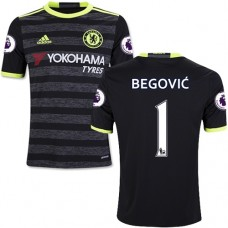 Kid's 16/17 Chelsea #1 Asmir Begovic Authentic Black Away Jersey - 2016/17 Premier League Soccer Shirt