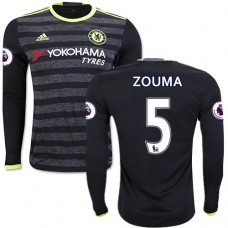 Adult Men's 16/17 Chelsea #5 Kurt Zouma Authentic Black Away Long Sleeve Jersey - 2016/17 Premier League Soccer Shirt