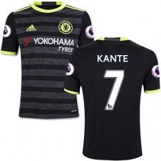 Kid's 16/17 Chelsea #7 N'Golo Kante Black Away Replica Jersey - 2016/17 Premier League Soccer Shirt