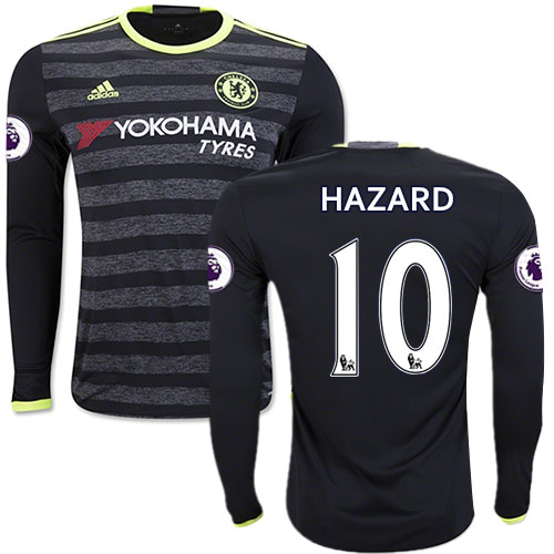 the latest a736f f8415 Adult Men's 16/17 Chelsea #10 Eden Hazard Black Away Long ...