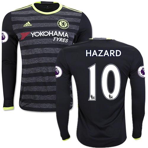 the latest ed6e3 927d2 Adult Men's 16/17 Chelsea #10 Eden Hazard Black Away Long ...