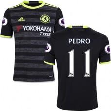 Kid's 16/17 Chelsea #11 Pedro Authentic Black Away Jersey - 2016/17 Premier League Soccer Shirt