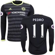 Adult Men's 16/17 Chelsea #11 Pedro Authentic Black Away Long Sleeve Jersey - 2016/17 Premier League Soccer Shirt