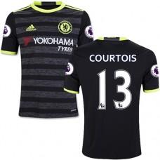 Kid's 16/17 Chelsea #13 Thibaut Courtois Authentic Black Away Jersey - 2016/17 Premier League Soccer Shirt