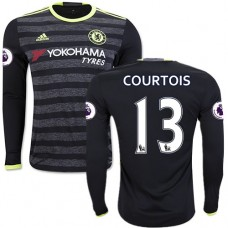 Adult Men's 16/17 Chelsea #13 Thibaut Courtois Authentic Black Away Long Sleeve Jersey - 2016/17 Premier League Soccer Shirt