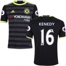 Kid's 16/17 Chelsea #16 Kenedy Authentic Black Away Jersey - 2016/17 Premier League Soccer Shirt