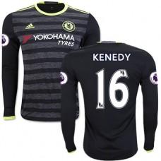 Adult Men's 16/17 Chelsea #16 Kenedy Authentic Black Away Long Sleeve Jersey - 2016/17 Premier League Soccer Shirt
