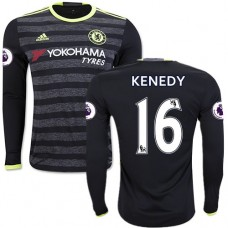 Adult Men's 16/17 Chelsea #16 Kenedy Black Away Long Sleeve Replica Jersey - 2016/17 Premier League Soccer Shirt