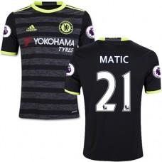 Kid's 16/17 Chelsea #21 Nemanja Matic Black Away Replica Jersey - 2016/17 Premier League Soccer Shirt