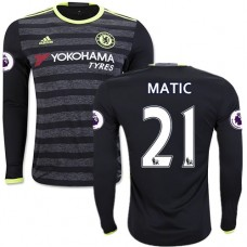 Adult Men's 16/17 Chelsea #21 Nemanja Matic Black Away Long Sleeve Replica Jersey - 2016/17 Premier League Soccer Shirt