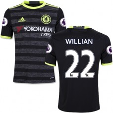 Kid's 16/17 Chelsea #22 Willian Black Away Replica Jersey - 2016/17 Premier League Soccer Shirt