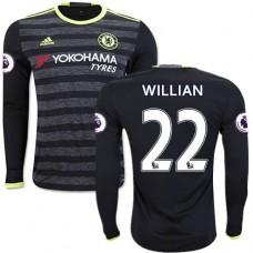 Adult Men's 16/17 Chelsea #22 Willian Black Away Long Sleeve Replica Jersey - 2016/17 Premier League Soccer Shirt