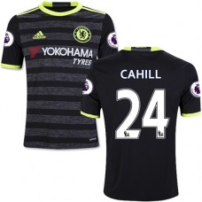 Kid's 16/17 Chelsea #24 Gary Cahill Authentic Black Away Jersey - 2016/17 Premier League Soccer Shirt