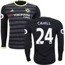 Adult Men's 16/17 Chelsea #24 Gary Cahill Black Away Long Sleeve Replica Jersey - 2016/17 Premier League Soccer Shirt