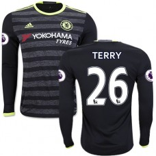 Adult Men's 16/17 Chelsea #26 John Terry Authentic Black Away Long Sleeve Jersey - 2016/17 Premier League Soccer Shirt