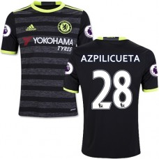 Kid's 16/17 Chelsea #28 Cesar Azpilicueta Black Away Replica Jersey - 2016/17 Premier League Soccer Shirt