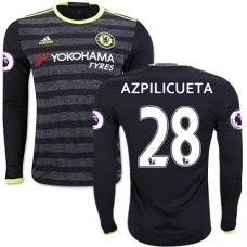 Adult Men's 16/17 Chelsea #28 Cesar Azpilicueta Authentic Black Away Long Sleeve Jersey - 2016/17 Premier League Soccer Shirt