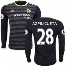 Adult Men's 16/17 Chelsea #28 Cesar Azpilicueta Black Away Long Sleeve Replica Jersey - 2016/17 Premier League Soccer Shirt