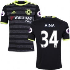 Kid's 16/17 Chelsea #34 Ola Aina Authentic Black Away Jersey - 2016/17 Premier League Soccer Shirt