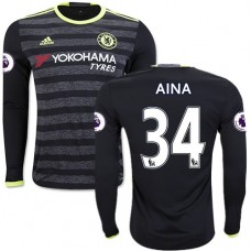 Adult Men's 16/17 Chelsea #34 Ola Aina Black Away Long Sleeve Replica Jersey - 2016/17 Premier League Soccer Shirt