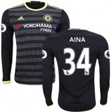 Adult Men's 16/17 Chelsea #34 Ola Aina Black Away Long Sleeve Replica Jersey - 2016/17 Premier League Soccer Shirt