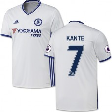 Adult Men's 16/17 Chelsea #7 N'Golo Kante Authentic White Third Jersey - 2016/17 Premier League Soccer Shirt